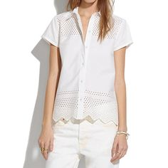Latticework Shirt @ Madewell - a great hybrid of a classic white tee and button down