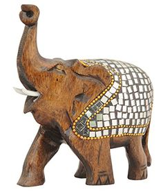 SouvNear 4 Premium Quality TrunkUp Elephant Sculpture  Statue in Wood  Good Luck HandCarved Wooden Elephant Figurine Dcor with Mirror and Beads Work  Home  Office  Gifts Items