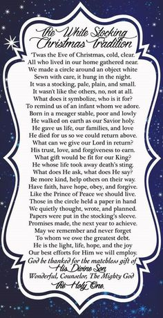 White Stocking Christmas Tradition – YW Christmas Lesson – What will you give Ch… – Hosiery Designs Ward Christmas Party, Christmas Program, Christmas Poems, Christmas Activities, A Christmas Story, Christmas Balls, Christmas Traditions, Christmas Time, Christmas Crafts