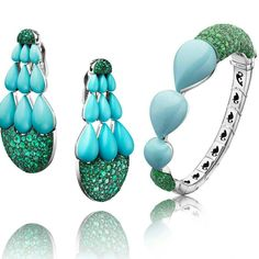 De Grisogono Turquoise and Emerald Earrings and Ring