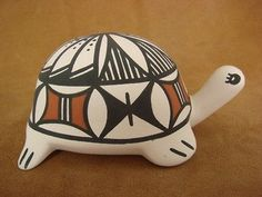 Laguna Indian Pueblo Pottery Hand Painted Turtle Pot by Michelle Joe!