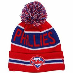 2c9d253db6c New Era Philadelphia Phillies Youth The Coach Cuffed Knit Hat with Pom -  Red Royal Blue