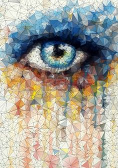 beautiful eye in geometric styling abstract geometric background  stained-glass window vector photo