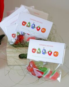 very hungry caterpillar: party favours maybe add gummy worms Baby First Birthday, First Birthday Parties, First Birthdays, Birthday Ideas, Hungry Caterpillar Food, Construction Birthday Parties, Construction Party, Party Favors, Favours