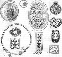 Jewelry finds from Gnezdovo: Украшения из Гнездовских курганов: 1 — височное кольцо, 2 — золотая фибула, 3 — серебряная зерненая привеска, 4 — овальная фибула, 5 — желез...