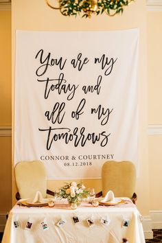 Wedding Reception Wedding backdrop for reception, Rustic wedding ideas, Calligraphy wedding, Fabric backdrop - Wedding Trends, Wedding Tips, Trendy Wedding, Diy Wedding, Wedding Planning, Dream Wedding, Wedding Fabric, Perfect Wedding, Pallet Wedding