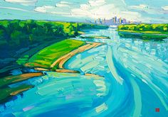 """Morning Missouri Oil On Canvas 24""""H x 30""""W I committed months to painting the Missouri River and created a series of paintings depicting Kansas City's skyline. Rivers have significant meanings and are open to interpretations. I keep these paintings open for you to find your own story Allen Chow"""