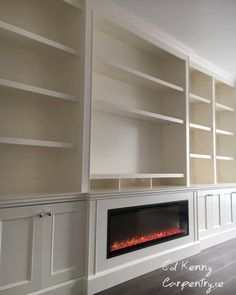 Bespoke TV unit with electric fire Carpentry Services, Electric Fires, Bespoke Furniture, Tv Unit, Cabinets, Floor Plans, Flooring, How To Plan, Building