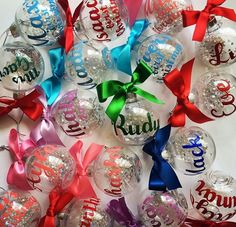 Personalised name ornaments by Summer Svenson (via Etsy).                                                                                                                                                                                 More