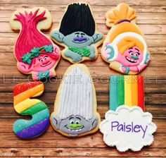 Party and event ideas and inspirations 2 Birthday, Trolls Birthday Party, Troll Party, 6th Birthday Parties, Birthday Cookies, Birthday Ideas, Cookies For Kids, Cute Cookies, Sugar Cookies