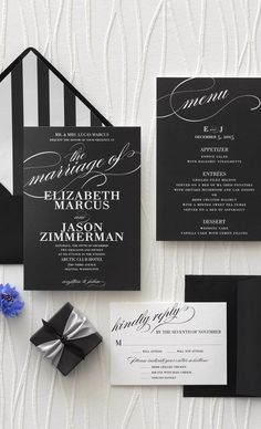 Elegance, timeless and modern pretty much sums up a black and white winter wedding.