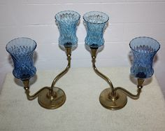 Vintage Pair Solid Brass Double Arm Candle by QUEENIESECLECTIC, $45.00