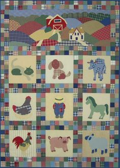 Cute pattern for farm animal quilt Farm Animal Quilt, Farm Quilt, Dog Quilts, Mini Quilts, Quilt Baby, Quilting Projects, Quilting Designs, Applique Quilt Patterns, Baby Quilts