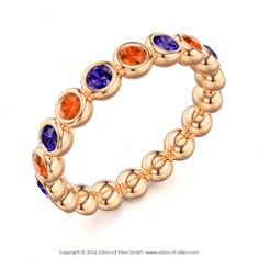 Fire Opal and Tanzanite #Ring www.colors-of-eden.com