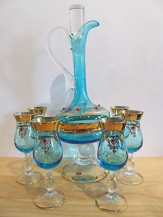 Vintage Italian Blue and Gold Crystal Wine Decanter with Six Wine Glasses