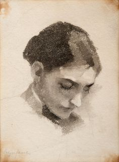 "A girls portrait - Helene Sofia Schjerfbeck Finnish, 1862–1946 Watercolour, 16 x 11.5 cm. (6.3 x 4.5 in.) """