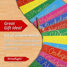 As a child learning to write your name was one of the most fundamental stages of your 'writing' journey. Assist your child in learning how to write their names correctly in a fun & educational manner.   Enjoy the limited offer of R10-00 off all name boards.   A great Christmas gift as well as assisting your child for the new school year.