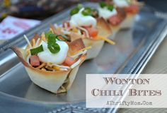 Wonton Chili bites, quick and easy snack ideas for the superbowl or any party!