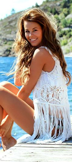White Crochet Fringe Cover Up by Stylista