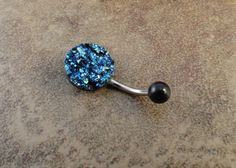 Iridescent Druzy Belly Button Jewelry Ring Blue by MidnightsMojo, $15.00 Just Beautiful!
