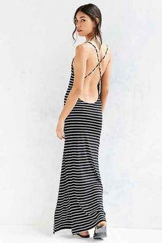 Silence + Noise Plunge-Back Striped Maxi Dress