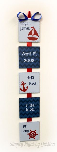 Nautical Themed Birth Announcement sign for by SimplySignsByJess - I wouldnt do nautical themed, but this is a cute idea