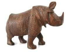 Vintage Rhino Statue Indian Rhinoceros Hand Carved Wooden by Sfuso