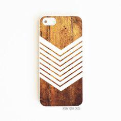 iPhone 5 Case Dark Wood Grain Geometric Chevron by onyourcasestore, $17.99