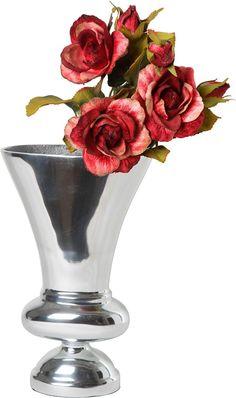 Artikeldetails:  Blumenvase aus Aluminium, Hochwertige Verarbeitung, Farbe: Silber,  Maße:  Maße (B/T/H): 23/10,5/37 cm oder 17/8/28 cm,  ...