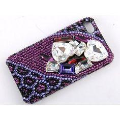 Purple Pink 3D Amethyst Heart Stone iPhone 4S 4 Case Swarovski Crystal Element