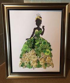 Disney Inspired Tiana Silhouette Button Art In Frame. | eBay