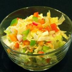 California Cole Slaw (No Mayo, Used Truvia instead of white sugar and olive oil with a little vegetable oil)