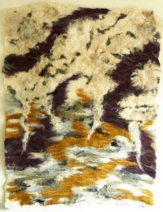 Vilten wandkleed 'Sunset' van o.a. Merinowol, Drents Heideschaap en zijde