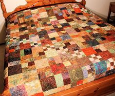 Queen Bed Quilt  Fall Migration Masculine by QuiltSewPieceful, $395.00