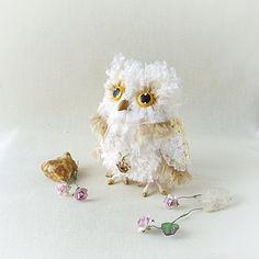 Сова. Авторская интерьерная игрушка, 12см. Смешаная техника. Handmade owl