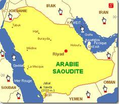 Carte Arabie Saoudite. Arabie Saoudite : L'Arabie est le premier détenteur d'actifs financiers islamiques
