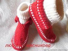 Тапочки-мокасины спицами от Любови Мясниковой (Вязание спицами)   Журнал Вдохновение Рукодельницы