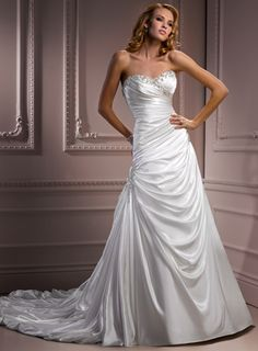 A-line Sweetheart Chapel Train Charming Satin