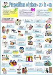 English worksheet: PREPOSITIONS OF PLACE - AT - IN - ON