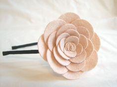 Lowell  Oat big flower wool felt  headband by PetitCalla on Etsy, $15.99