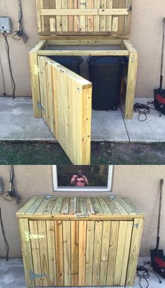 Shed Plans – The garbage can shed built over the weekend to stop pesky critters - Modern Garbage Can Shed, Garbage Can Storage, Trash Can Storage Outdoor, Diy Storage Shed Plans, Wood Shed Plans, Bin Storage, Storage Sheds, Garage Plans, Pallet Storage
