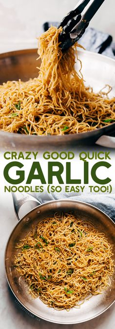 Crazy Good Quick Garlic Noodles - a quick 15 minute recipe for garlic noodles! These noodles are a fusion recipe and have the BEST flavor! #garlicnoodles #quickgarlicnoodles #garlicspaghetti #pasta #noodles | Littlespicejar.com Wine Recipes, Indian, Easy Meals, Quick Easy Meals, Fast Meals, Indian People, Simple Meals