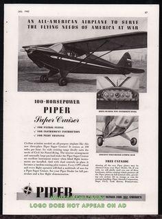 1943 WW II PIPER Super Cruiser Civil Air Patrol Aircraft WWII WW2 Plane AD