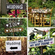 Outdoor wedding signage ideas - - http://rosechairdecor.com