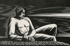 "Rockwell Kent   -  ""The Far Horizon"" Wood engraving, 1932.  5 1/2 in. x 6 7/16 in."
