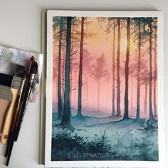 woods watercolor painting by jessica janik Watercolor Paintings For Beginners, Abstract Watercolor, Watercolor Illustration, Simple Watercolor, Tattoo Watercolor, Watercolor Trees, Watercolor Animals, Watercolor Techniques, Watercolor Background