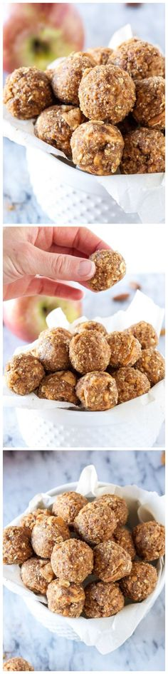 Cinnamon Apple Energy Bites - healthy, gluten free, vegan, energy bites that taste just like apple pie!!