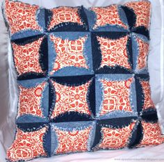 Denim Cathedral Window Pillow Part 1 - Parts 2 & 3 can be reached from Part 1
