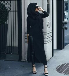Ever fell in love with a the maxi skirt/dress but broke your heart finding a slit in it? How about pairing it with some leather pants? Islamic Fashion, Muslim Fashion, Modest Fashion, Fashion Outfits, Turban, Divas, Dress Over Pants, Hijab Fashionista, Modest Wear