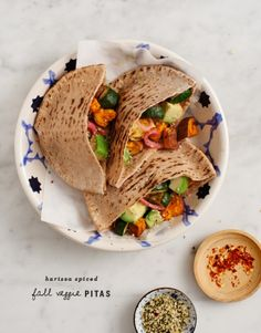 (via harissa spiced fall veggie pitas – Recipe by Love and...   #healthy #vegetarian #vegan #recipes Find more healthy recipes @ http://standouthealth.com